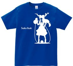 東方 シルエット 伊吹萃香 Aタイプ 半袖Tシャツ / Toho silhouette Suika Ibuki Short-sleeved t-shirt blue S size