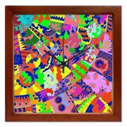 掛け時計【@ゆとりはいやだ】  音がしない かわいい 壁掛け時計 おしゃれ 絵 コンパクト ナチュラル デザイン時計 玄関 【アーティスト特集】
