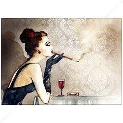 絵画 モダン PLEXIGLAS with cigarette . Watercolor   SIZE mm 700*1000   アート 装飾 壁 絵 ココ コブラアート 高級 フレームレス 正規品