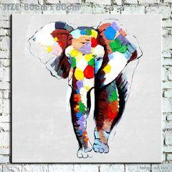 絵画【オイルペイントアート】 油絵 Enjoy! art『 象 (ゾウ) 』  【額無し】 壁掛け インテリア 壁 壁飾り ポップな色彩で人気です! ファブリックパネル