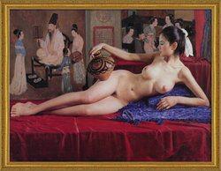 【艶美な油彩画 気高い女性画をお手元に】 30号サイズ/国産額付き [裸婦画][裸婦]絵画 油絵 古典芸術  返品保証 伝統技法と写実技法の融合