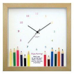 色鉛筆の掛け時計 音がしない 小さめ 22cm 時計 壁掛け かわいい 掛け時計 壁掛け時計 とけい 壁飾り 子供部屋やプレゼントに