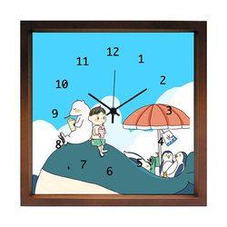 掛け時計 夏休み  おしゃれでかわいい掛け時計  リビング 玄関 キッチン に飾る 誕生日プレゼントやお祝い用ギフトに kuko(くこ) ハンドメイド 日本製