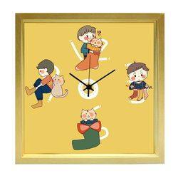 掛け時計 ねこと靴下とぼく  おしゃれでかわいい掛け時計  リビング 玄関 キッチン に飾る 誕生日プレゼントやお祝い用ギフトに kuko(くこ) ハンドメイド 日本製
