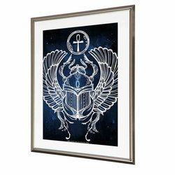 ポスター アルミ額入り モノトーン H45cm W34cm ファラオの紋章 スカラベ 太陽神ラー Symbol of Pharaoh Scarab Ra3 アートフレーム レア モノクロ WWA NYC