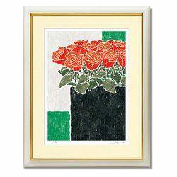 花の絵 絵画 花 バラ おしゃれ 壁掛け 絵 インテリア 【黒の花瓶と赤い薔薇】 額入り 玄関 新居 新築 お祝い プレゼント用 赤い花の絵 風水 版画