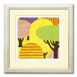 絵画 抽象 風景 イエローフォレスト yellow forest 40 絵画 インテリア アートフレーム 壁掛け 額入り  リビング ダイニング 玄関 客間 個人宅 風水 抽象デザイン