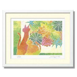 猫の絵 絵画 かわいい 壁掛け 絵 インテリア かわいいイラスト 風水 玄関 新居 新築 お祝い プレゼント 額入り 版画 【ネコの置物と多肉植物寄せ植え】