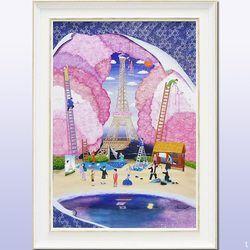 【花の都 江戸】「鮮やかな色彩と和洋折衷の遊び心を・・」 ラメチップ入りゲル加工 アートフレーム 女性作家 なかの まりの【アート 壁掛け】 業務用【アートポスター】 【額付き】風水 紫 パープル