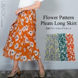 花柄プリーツロングスカート