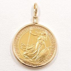 中古 ペンダントトップ ブリタニア 1/4oz 1/4オンス 総重量約9.5g コイン 金貨 K24YG K18YG 地金
