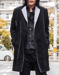Corduroy Zip Bi-Color Chester Coat - Black×Gray